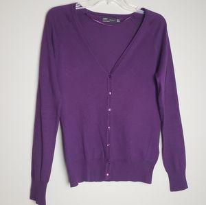 ZARA V-neck button cardigan. Purple. Sz Med.